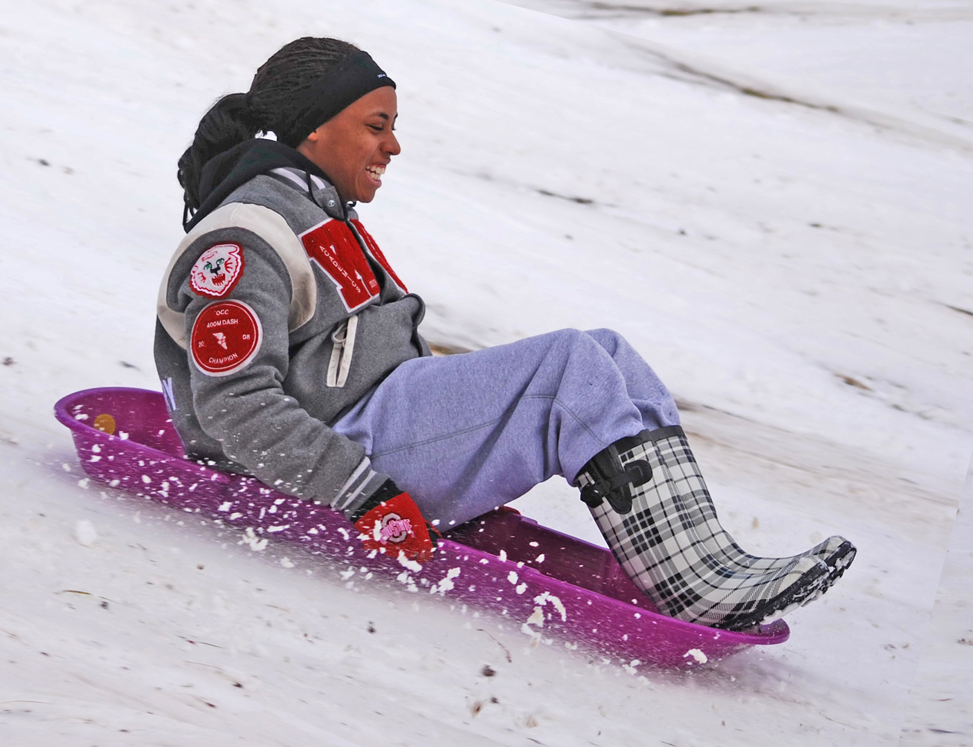Sledder on hill at Sharon Woods