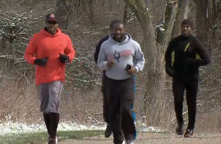 Members of the Black Men Run group take a run on the trails at Blacklick Woods Metro Park.