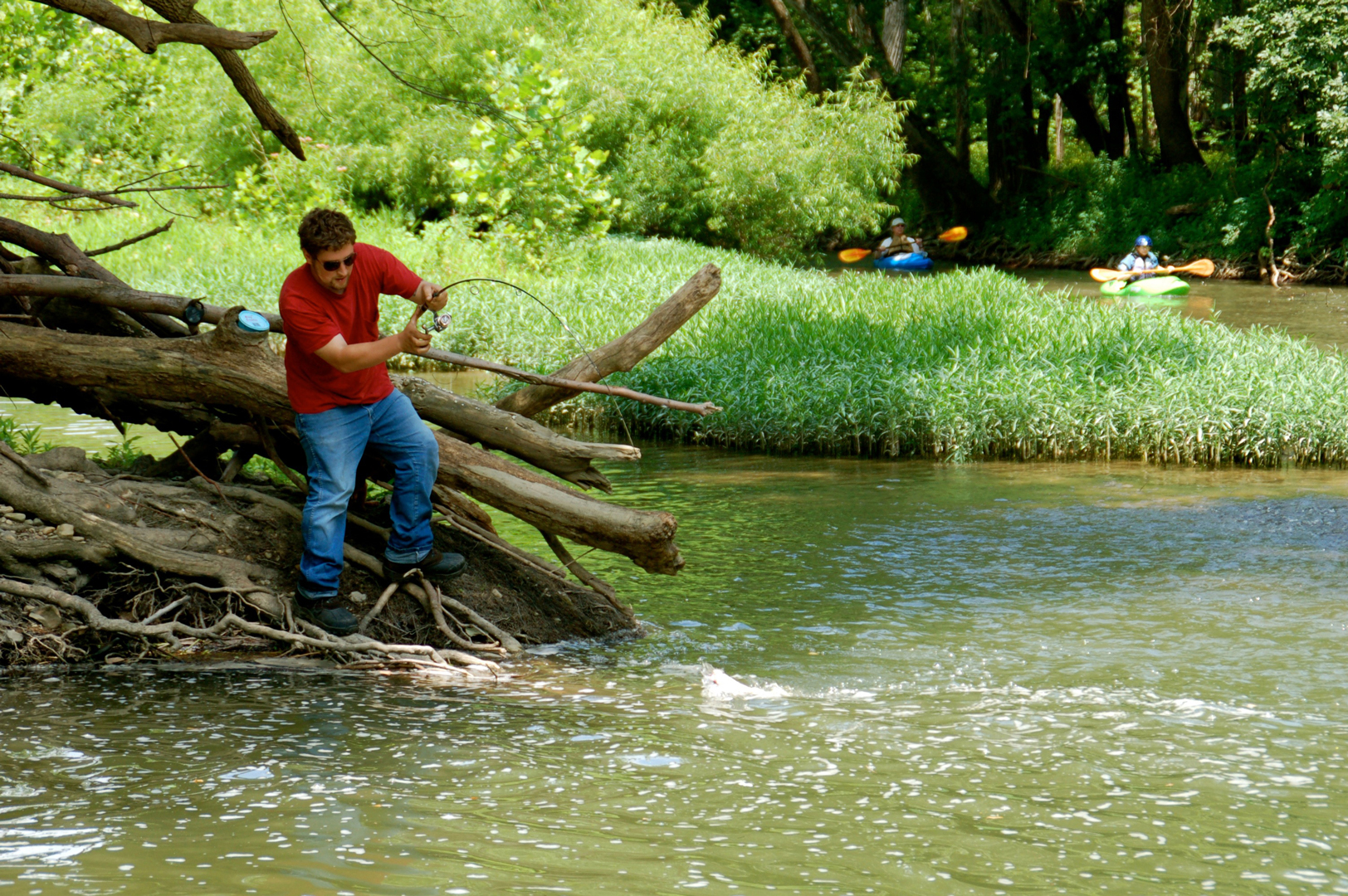 Man catches a fish from banks of Big Darby Creek in Battelle Darby Creek Metro Park.