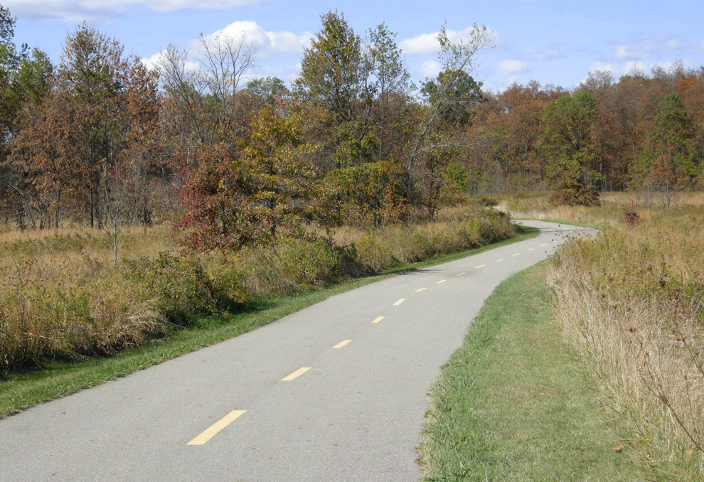The paved Marsh Hawk Trail running through fields at Glacier Ridge Metro Park.