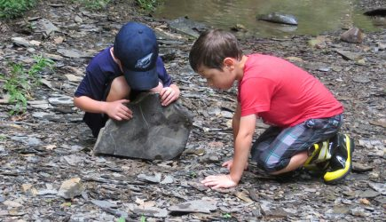 Two boys look beneath a large stone to see if they can find anything interesting hiding underneath. From pre-kindergarten camp, Peek-a-Boo and Pre-K Too at Highbanks.