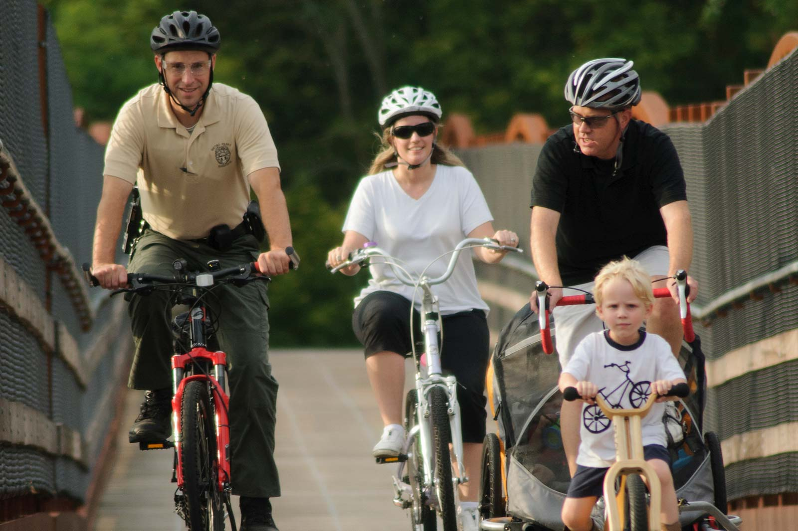 Bikers at Three Creeks at the Family Ride Night program