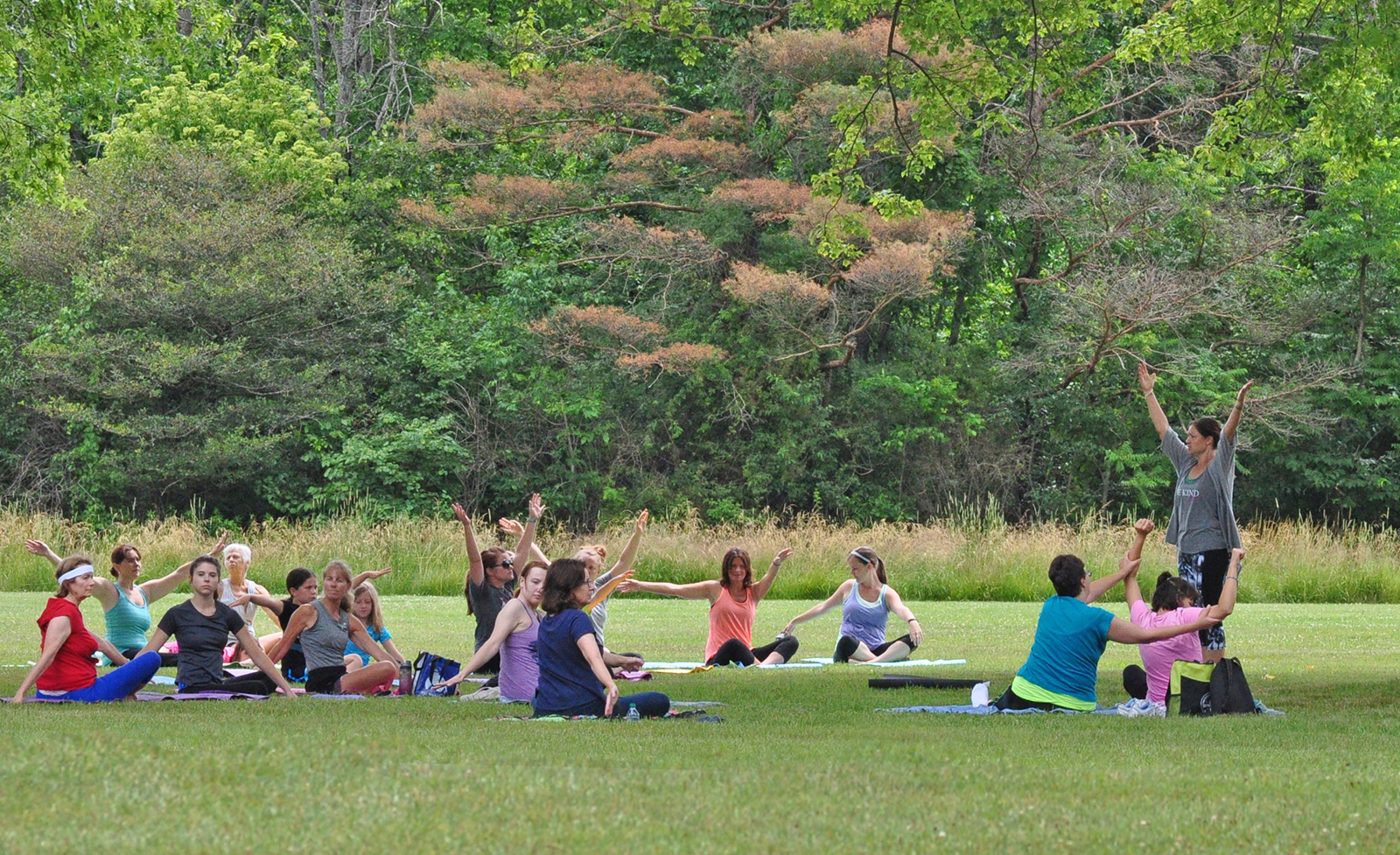 Yoga in the Park, in the Cedar Ridge area at Battelle Darby Creek.
