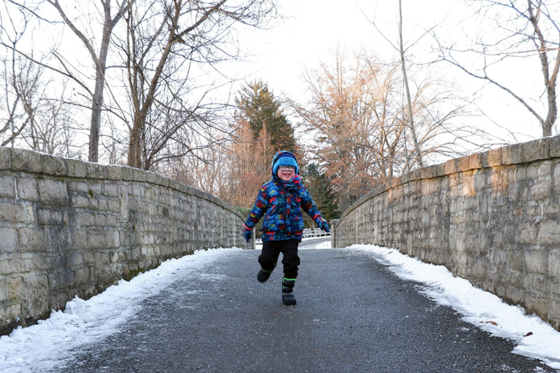 A child runs across the bridge near the Brookwood Trail during the winter hike at Inniswood Metro Gardens.